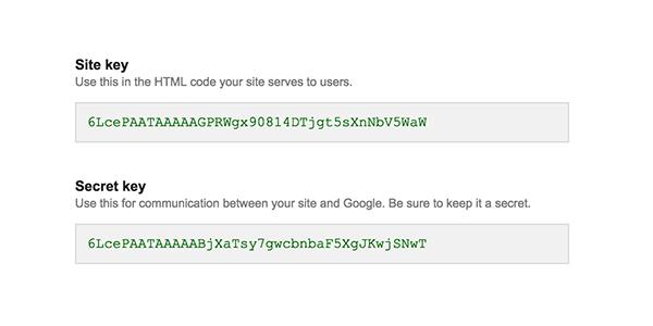keys - Google reCAPTCHA Eklentisi Wordpress Kurulum Kullanımı