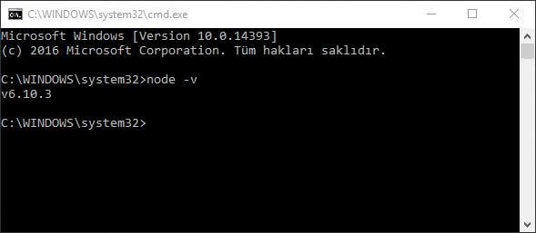 nodejs windows kurulum