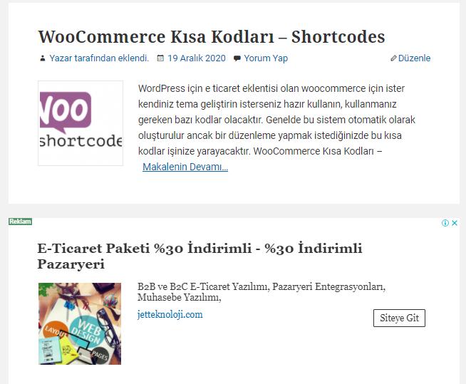 Yazi Arasi Reklam Alani - Wordpress Yazı Arası Reklam Alanı Ekleme